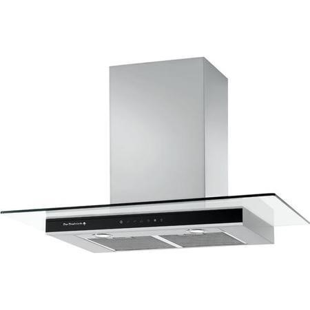 De Dietrich DHD1187X 90cm Wide Flat Glass Chimney Cooker Hood Stainless Steel