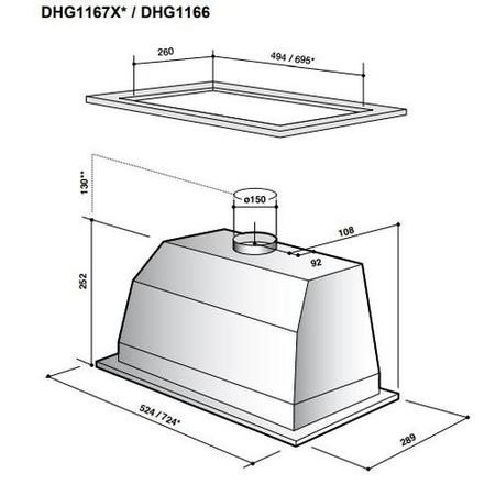 De Dietrich DHG1167X 72cm Wide Canopy Cooker Hood In Stainless Steel