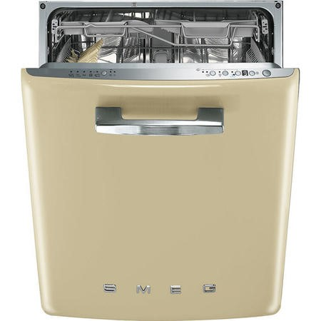 Smeg 50's Retro Style DI6FABCR 13 Place Semi Integrated Dishwasher - Cream Door