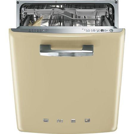 GRADE A2 - Smeg 50's Retro Style DI6FABCR 13 Place Semi Integrated Dishwasher - Cream Door