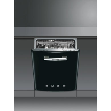 DI6FABNE2 Smeg DI6FABNE2 Fifties Style Integrated Dishwasher With Black Door