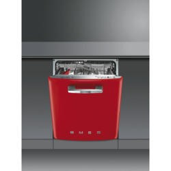 Smeg DI6FABR2 Fifties Style Integrated Dishwasher With Red Door