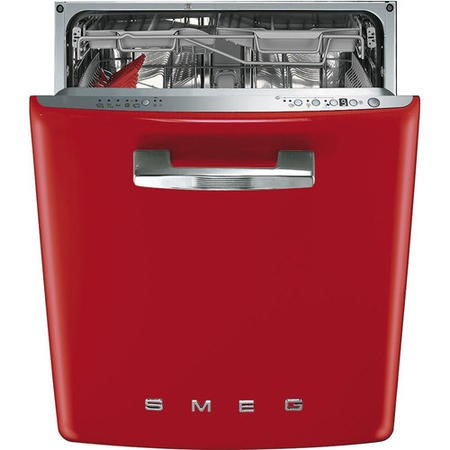 Smeg 50's Retro Style DI6FABRD 13 Place Semi Integrated Dishwasher - Red Door