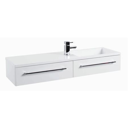 Blanco Gloss White Wall Mount Basin Vanity Unit - Includes Basin - 995mm