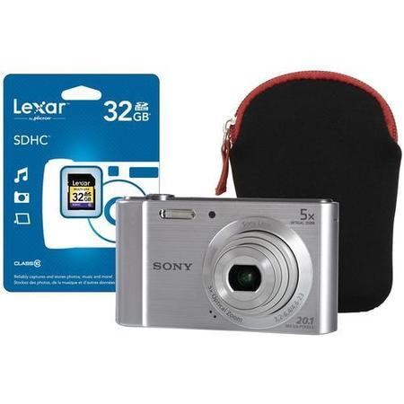 Sony DSC-W800 Silver Camera Kit inc 32GB SD Card and Neoprene Case