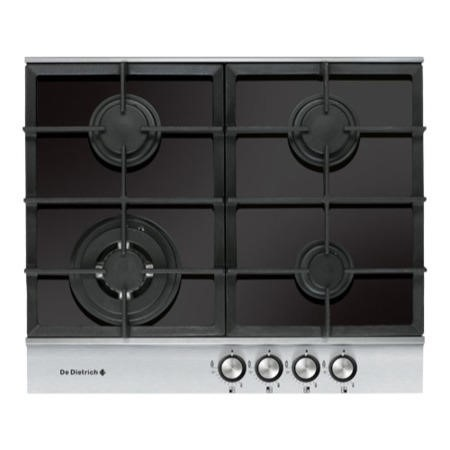 De Dietrich DTG1164X 60cm Wide Four Burner Gas-on-glass Hob With Stainless Steel Trim