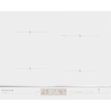 De Dietrich DTi1105WE 65cm Wide Four Zone Induction Hob In White Glass