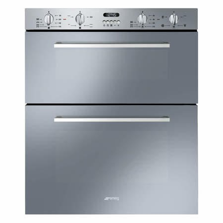 GRADE A3 - Smeg DUSF44X Cucina 60cm Stainless Steel Double Under Counter Multifunction Oven With New Style Controls