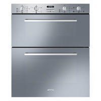 Smeg DUSF44X Cucina 60cm Stainless Steel Double Under Counter Multifunction Oven With New Style Controls