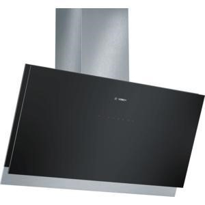 Bosch DWK098G61B 90cm Wide Angled Cooker Hood Stainless Steel And Black Glass