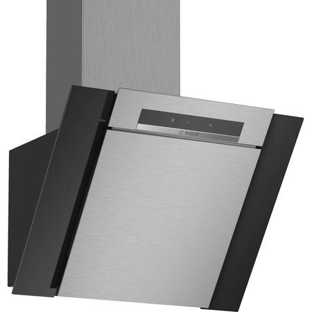 Bosch DWK67BM60B Serie 4 Touch Control 60cm Angled Cooker Hood - Stainless Steel And Black Glass