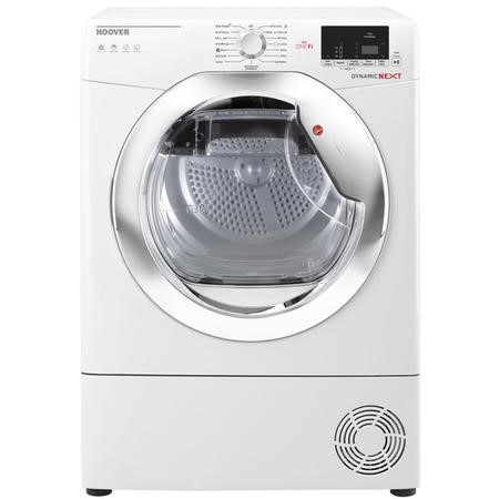 Hoover DXWH11A2DCEXM Dynamic Next Aquavision Freestanding 11kg Heat Pump Tumble Dryer With WiFi And Muffle Drum - White With Chrome Door
