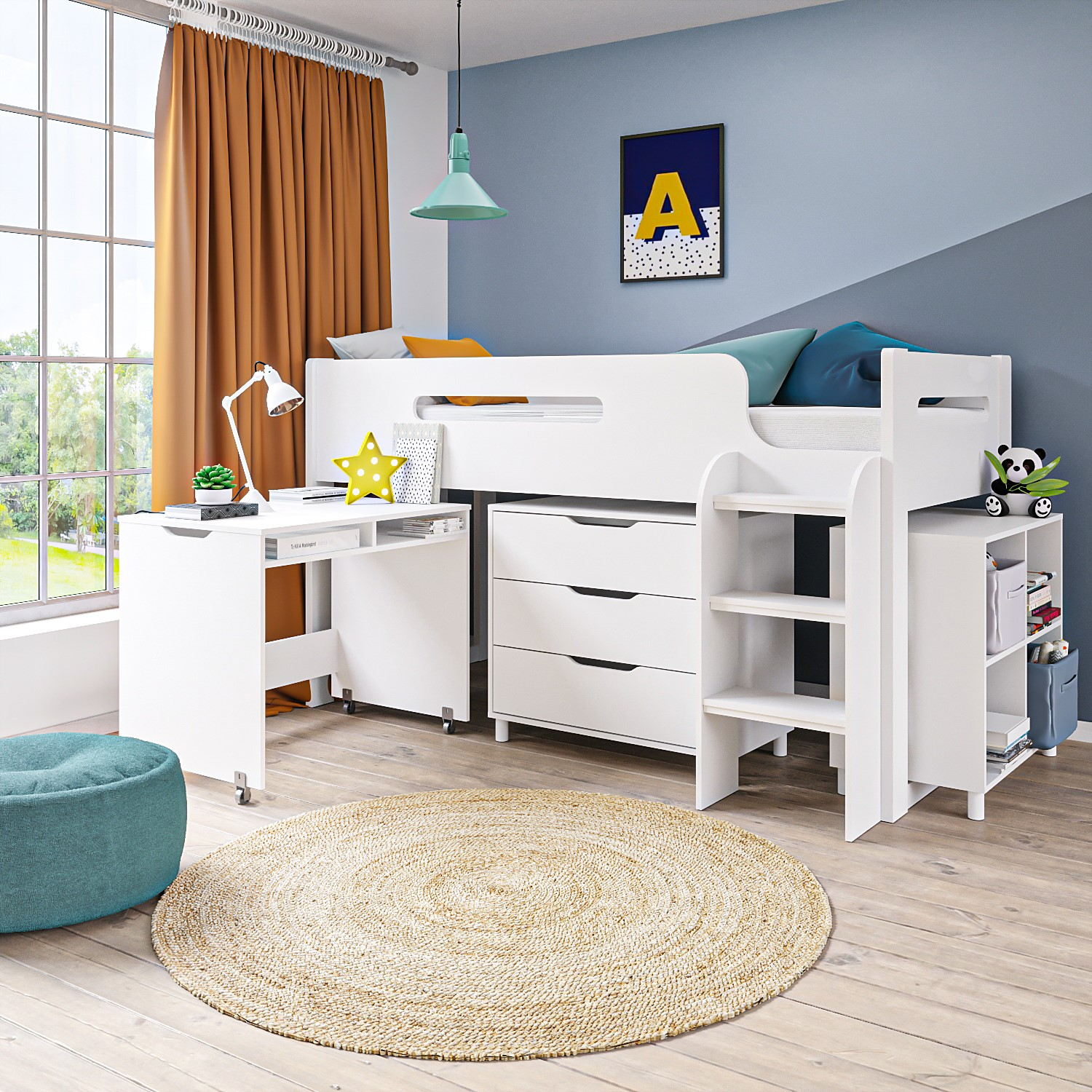 White Cabin Bed Midsleeper + Mattress Options + Includes ...