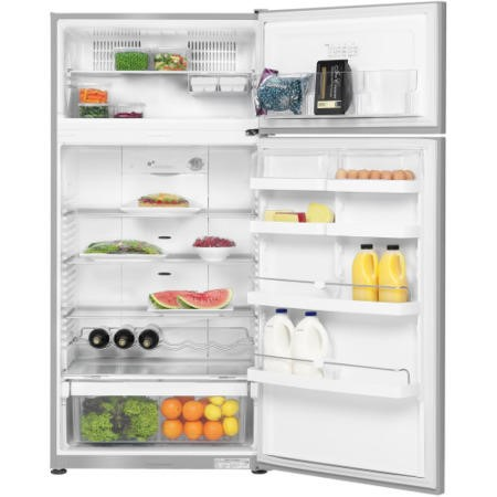 Fisher & Paykel E521TLX2 23390 79cm Wide Top Mount Left Hand Hinge Freestanding Fridge Freezer - EZKleen Stainless Steel