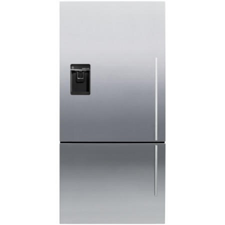 Fisher & Paykel E522BLXFDU4 24181 - 79cm Wide Flat Door Left Hand Hinge Freestanding Fridge Freezer With Slim-depth Water Dispenser - EZKleen Stainless Steel