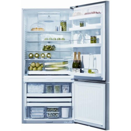 Fisher & Paykel E522BRXFDU4 25158 - 79cm Wide Flat Door Right Hand Hinge Freestanding Fridge Freezer With Slim-depth Water Dispenser - EZKleen Stainless Steel
