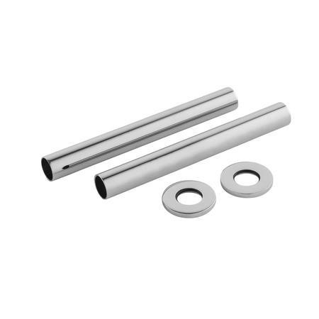 Chrome Pipe Covers 128 x 15mm Dia