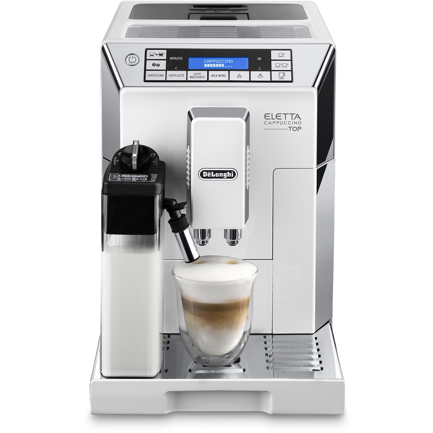Delonghi Ecam45760w Eletta Cappuccino Top Bean To Cup Automatic Coffee Machine With Grinder Frother White