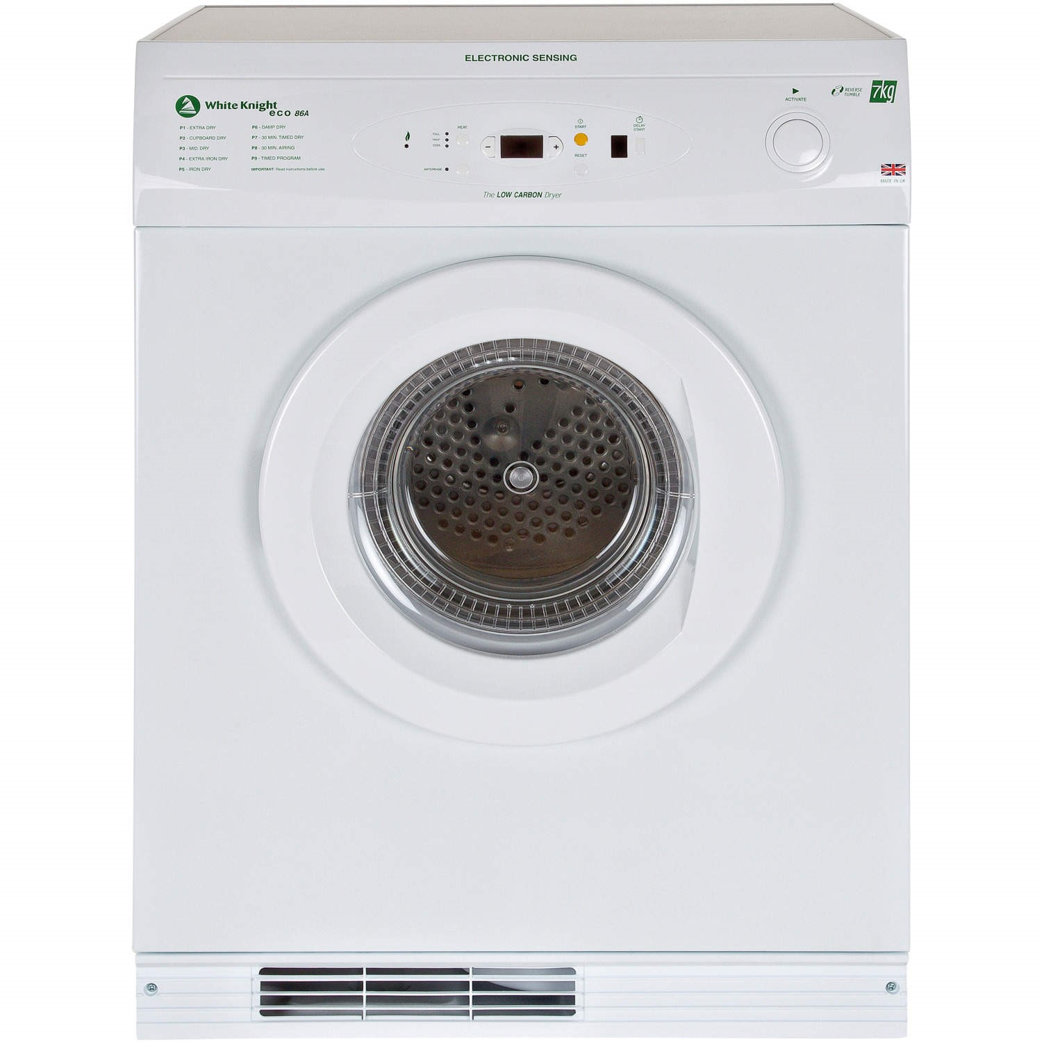 white knight eco86a 7kg freestanding vented gas tumble dryer white rh appliancesdirect co uk white knight condenser tumble dryer manual white knight condenser tumble dryer manual