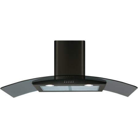 CDA ECP102BL Curved Glass 100cm Chimney Cooker Hood Black