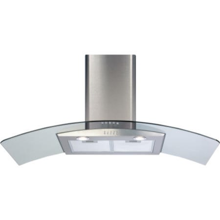 CDA ECP102SS Curved Glass 100cm Chimney Cooker Hood Stainless Steel