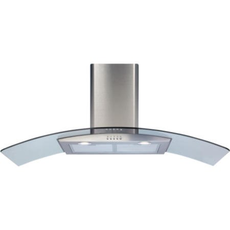 CDA ECP112SS Curved Glass 110cm Chimney Cooker Hood Stainless Steel