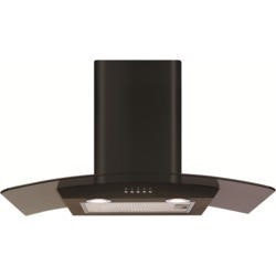 CDA ECP72BL Curved Glass 70cm Chimney Cooker Hood Black