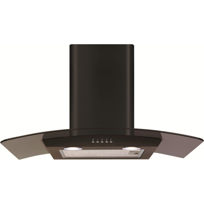CDA ECP72BL Curved Glass 70cm Chimney Cooker Hood Black | Appliances ...