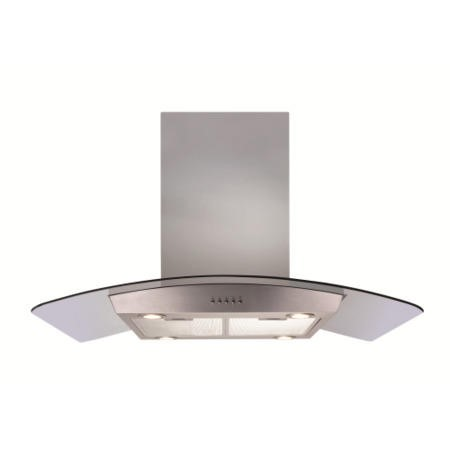 CDA ECPK90SS Curved Glass 90cm Wide Island Cooker Hood Stainless Steel