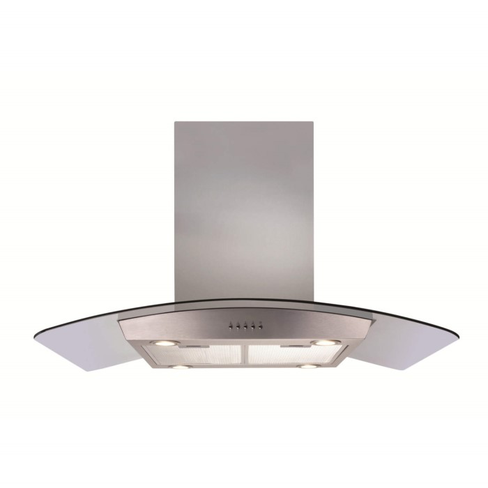 CDA ECPK90SS Curved Glass 90cm Wide Island Cooker Hood Stainless ...