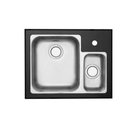 GRADE A1 - As new but box opened - Astracast EDD1XXHOMESKL Edge D1 Undermount 1.5 Bowl Polished Stainless Steel Sink with Left Hand Small Bowl