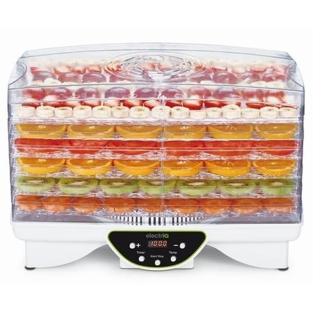 electriQ BPA Free Maxi Digital Food Dehydrator with 6 Collapsible Shelves