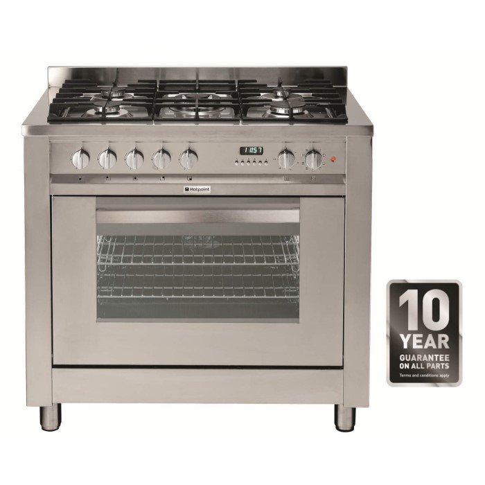 Hotpoint Eg900xs Single Oven 90cm Wide Dual Fuel Range Cooker