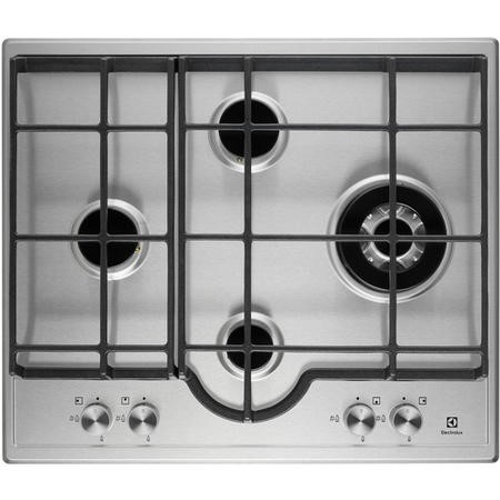 electrolux egh6343lox 60cm four burner gas hob stainless steel with cast iron pan stands. Black Bedroom Furniture Sets. Home Design Ideas