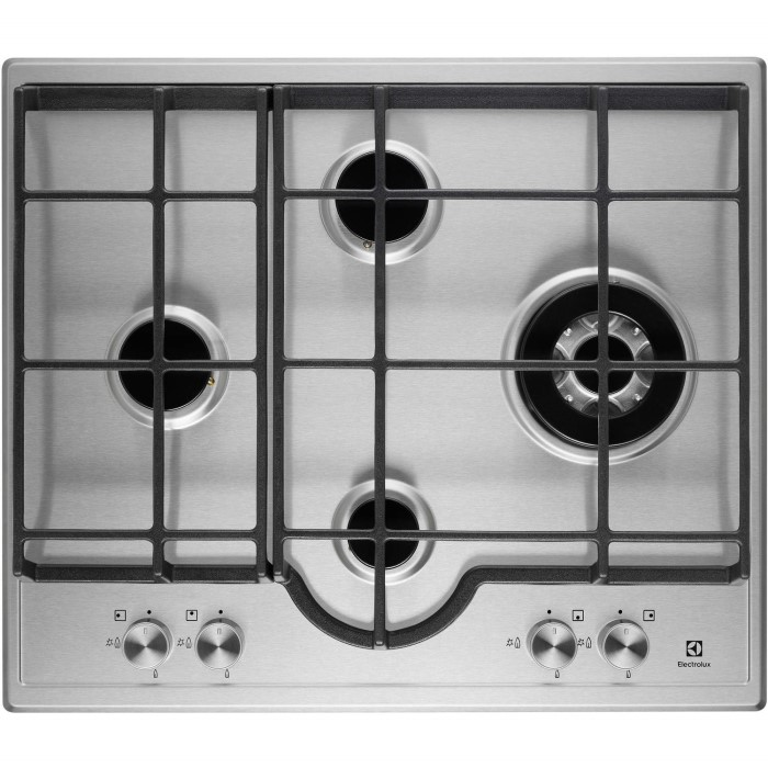Electrolux egh6343lox 60cm four burner gas hob stainless - Plaque induction 4 feux ...