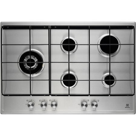 Electrolux EGH7253SOX 75cm Five Burner Gas Hob Stainless Steel With Enamelled Pan Stands
