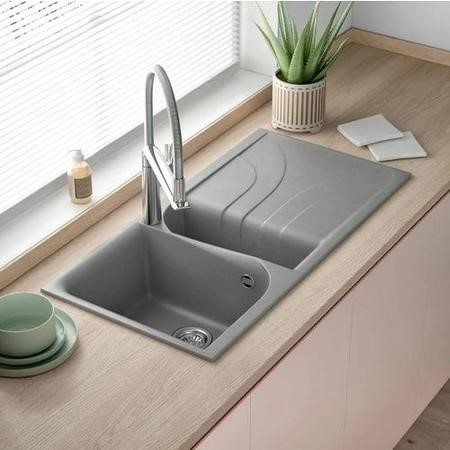 Reginox EGO475-TT 1.5 Bowl Regi-Granite Composite Sink With Reversible Drainer Metaltek Titanium Gre