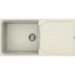Reginox EGO480-C Large 1.0 Bowl Regi-Granite Composite Sink With Reversible Drainer Granitetek Cream