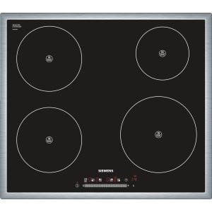 siemens eh645fe17e 58cm wide touch control four zone induction hob black with stainless steel. Black Bedroom Furniture Sets. Home Design Ideas