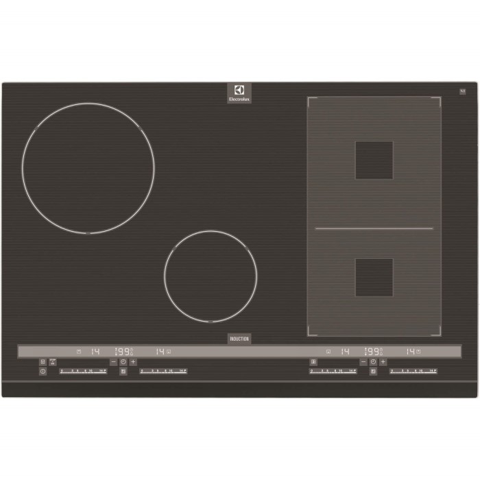 electrolux ehh8945fog four zone induction hob in black. Black Bedroom Furniture Sets. Home Design Ideas
