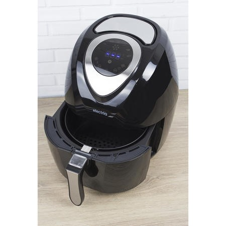 GRADE A1 - electriQ 3.2L Low Fat Healthy Air Fryer 1400w with Digital Controls and Divider