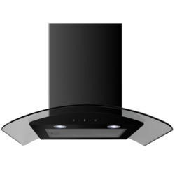 electriQ 60cm Curved Glass Satin Black Touch Control Chimney Cooker Hood  - 5 Year Warranty