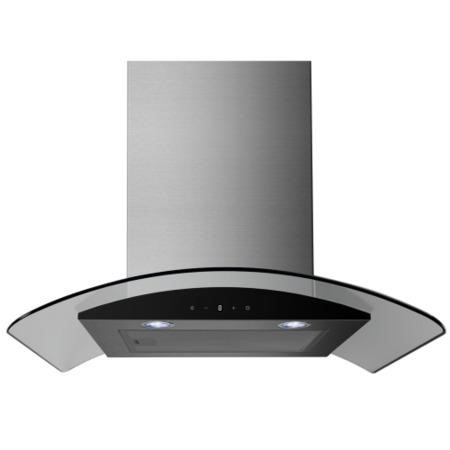 electriQ 60cm Stainless Curved Glass Touch Control Chimney Cooker Hood  -  5 Year Warranty