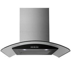 GRADE A1 - electriQ 60cm Stainless Steel Curved Glass Chimney Cooker Hood