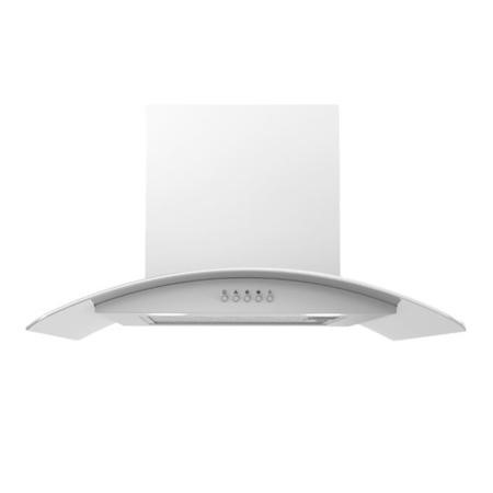 electriQ 60cm Curved Glass White Push Button Chimney Cooker Hood  -  5 Year Warranty