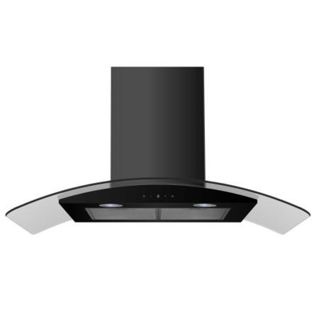 electriQ 90cm Satin Black Curved Glass Touch Control Chimney Cooker Hood  -  5 Years Warranty
