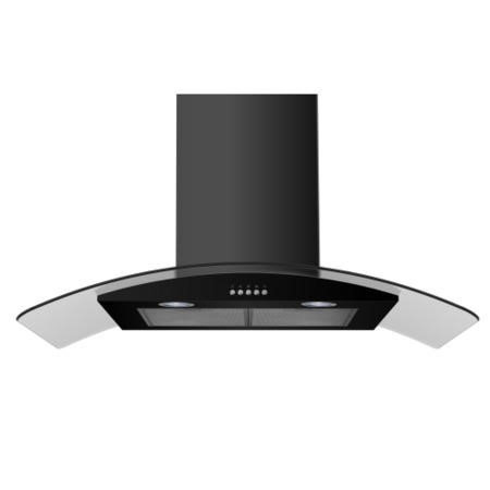 electriQ 90cm Curved Glass Satin Black Push Button Chimney Cooker Hood  -  5 Year Warranty