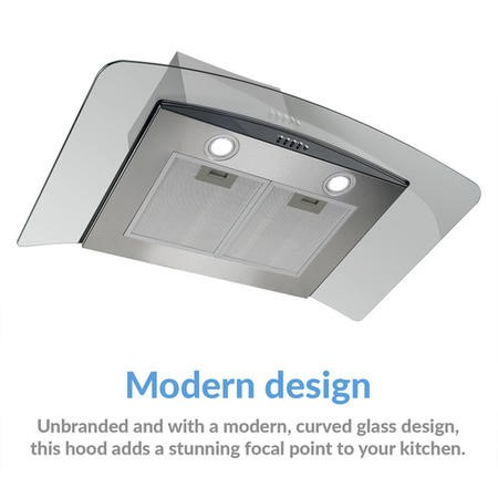 electriQ 90cm Stainless Steel Curved Glass Chimney Cooker Hood  -  5 Year Warranty