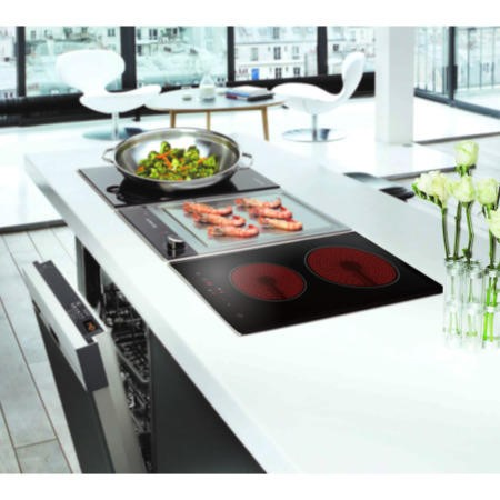 electriQ 30cm Domino Touch Control Two Zone Ceramic Hob in Black - Plug in and go!