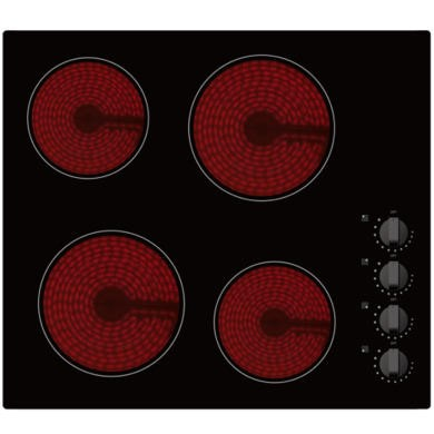 ElectriQ Ceramic 60cm Black Glass Hob With Knob Control